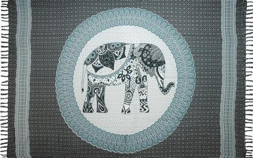 Boho Elephant Black Sarong