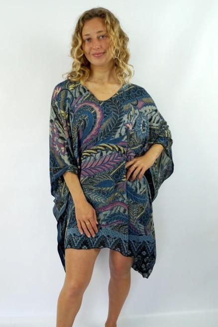 Retro Batik Charcoal Short Tunic