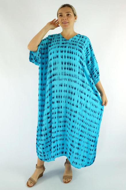 Aqua Teardrop Long Kaftan