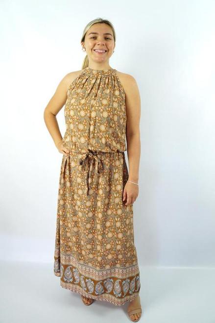 Long Chloe Brown Daisy Flower Dress
