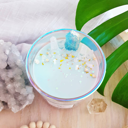 Holographic Crystal Candle - Aura Quartz - Ocean Breeze