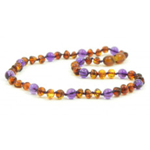 Genuine Baltic Amber Polished Round Butterscotch and Amethyst Babies Teething Necklace