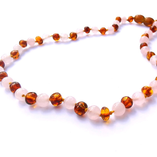 Genuine Baltic Amber Butterscotch & Rose Quartz Round Babies Teething Necklace