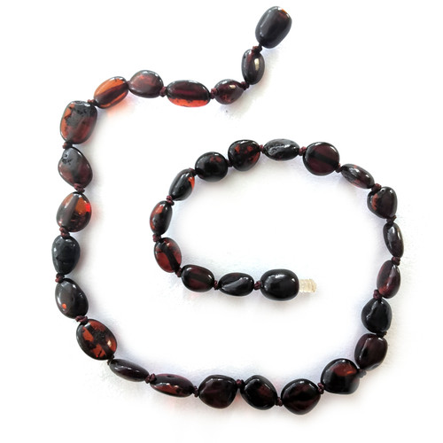 Genuine Baltic Amber Polished Oval Cherry Babies Teething Necklace