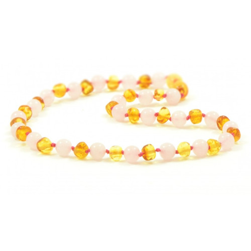 Genuine Baltic Amber Polished Round Honey and Rose Quartz Babies Teething Necklace
