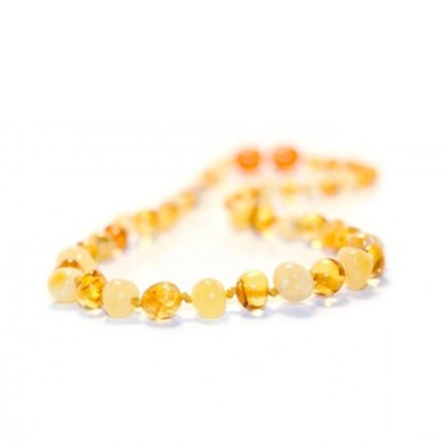 Genuine Baltic Amber Milk and Honey Round Babies Teething Necklace