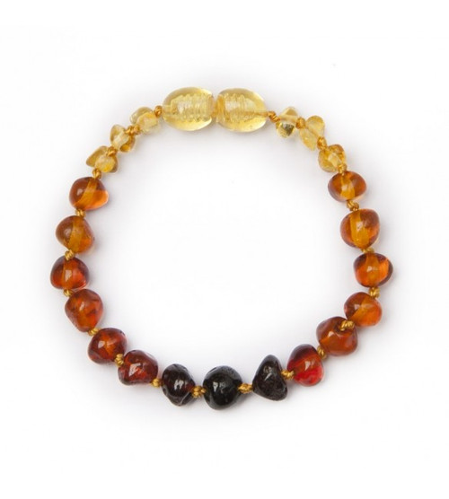 Genuine Baltic Amber Polished Round Rainbow Babies Teething Bracelet/Anklet