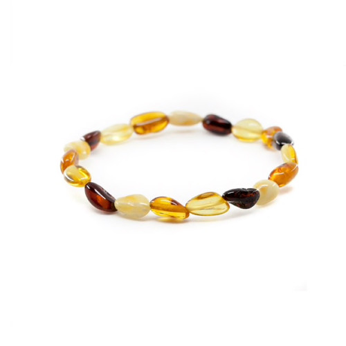 Genuine Baltic Amber Oval Multi-colour Women's Bracelet