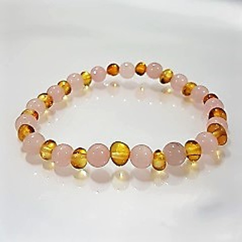 Genuine Baltic Amber Round Honey and Rose Quartz Women's Bracelet