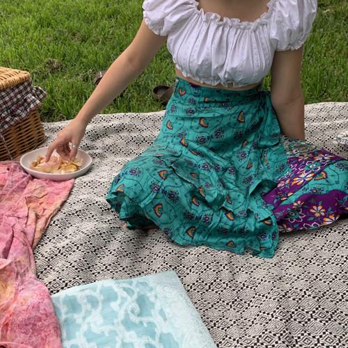 Fair Trade Royal Boho Upcycled Fabric Wrap Skirt