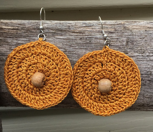 Fair Trade, Ethical Tatted Earrings - Mustard