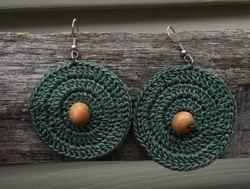 Fair Trade, Ethical Tatted Earrings - Green