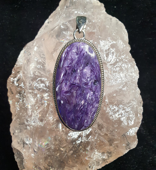 925 Sterling Silver Charoite Oval Pendant