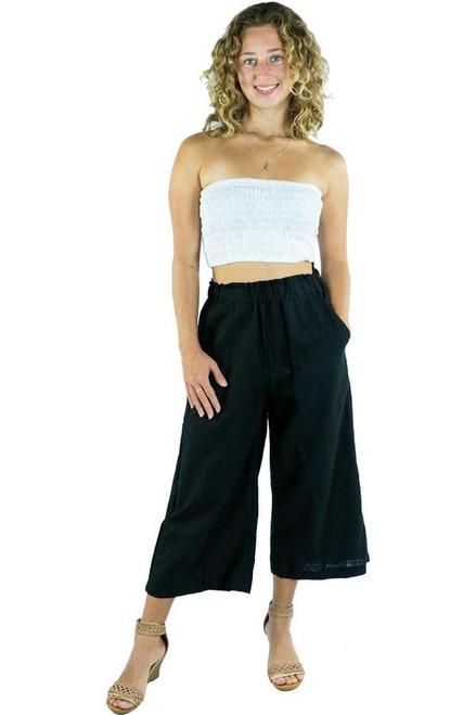 Black Cotton 3/4 Vacation Pant