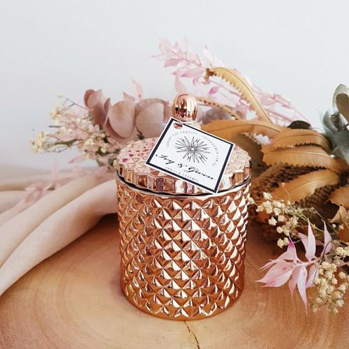 Luxe Crystal Jar - Rose Gold - Vanilla Caramel