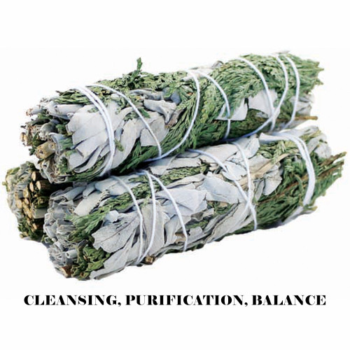 White and Cedar Sage Smudge Stick 10cm