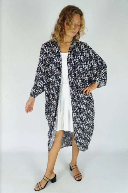 Long Navy Blossom Throw Over