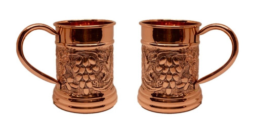 Embossed Copper Mule Mug - 500ml (Set of 2) with 2 Copper Straws