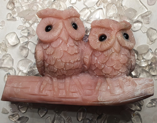 Pink Opal Owls Carving