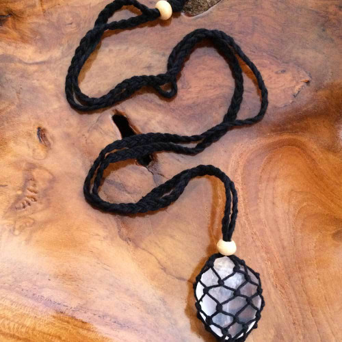 Black Macrame Crystal Pouch Necklace
