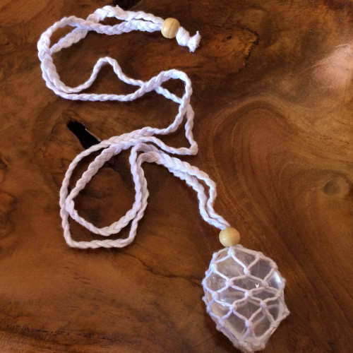 White Macrame Crystal Pouch Necklace