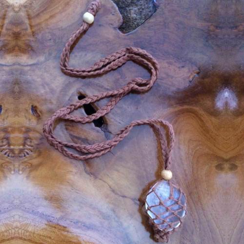 Dark Brown Macrame Crystal Pouch Necklace