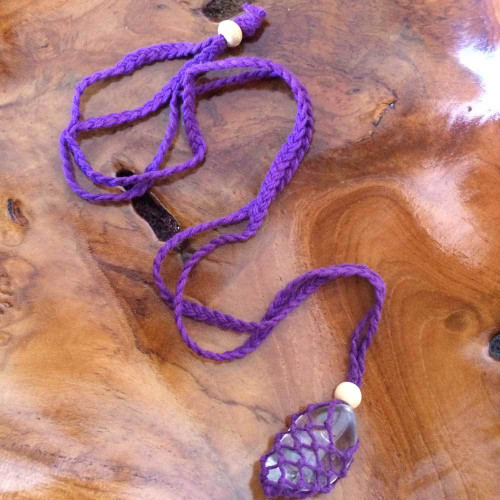 Purple Macrame Crystal Pouch Necklace