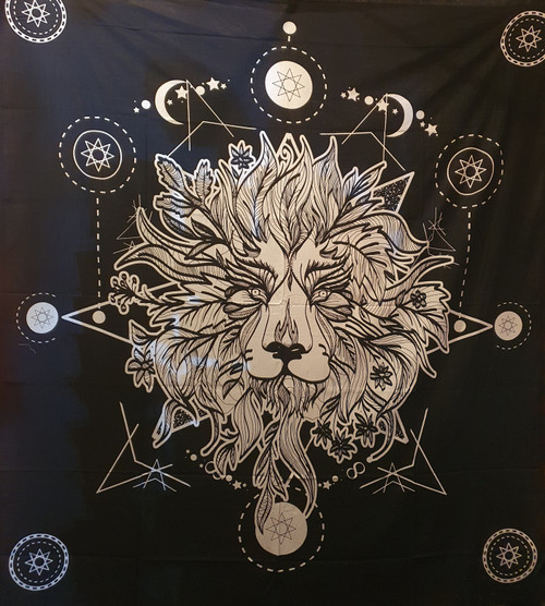 Cosmic Lion Printed Cotton Wall Hanging/Bedspread/Throw