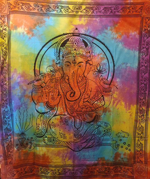 Tie-dyed Ganesh Printed Cotton Wall Hanging/Bedspread/Throw