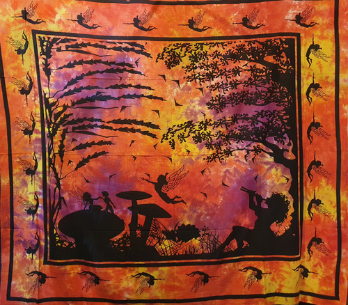 Tie-dyed Faery Light Printed Cotton Wall Hanging/Bedspread/Throw
