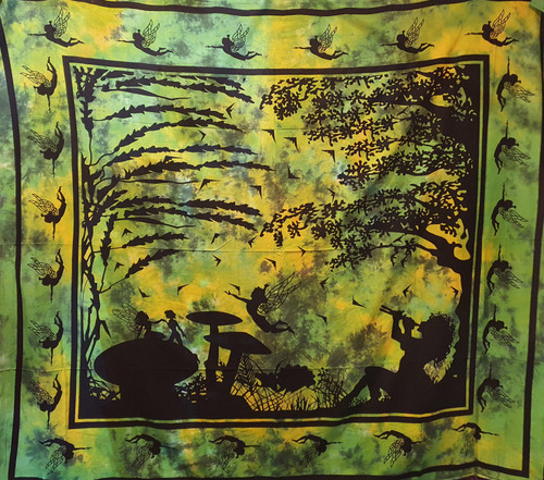 Tie-dyed Faery Green Printed Cotton Wall Hanging/Bedspread/Throw