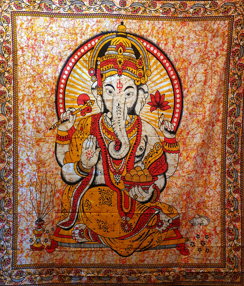 Ganesh Red/Orange Printed Cotton Wall Hanging/Bed Throw