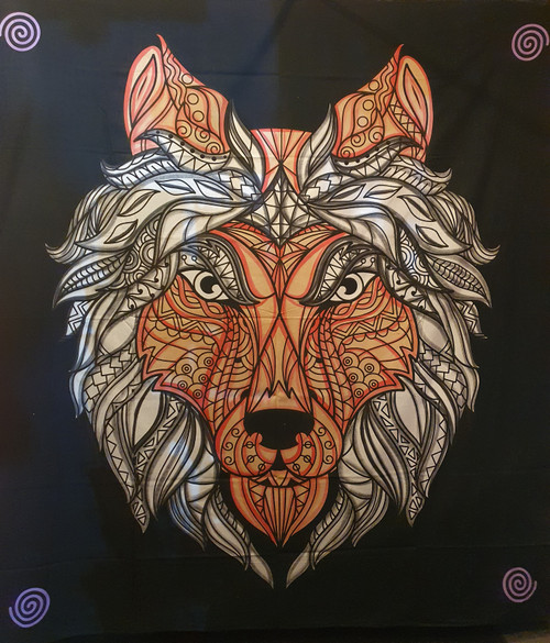 Tribal Wolf Printed Cotton Wall Hanging/Bed Throw