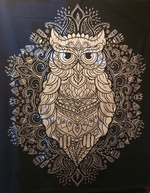 Owl Black/White Printed Cotton Wall Hanging/Bed Throw