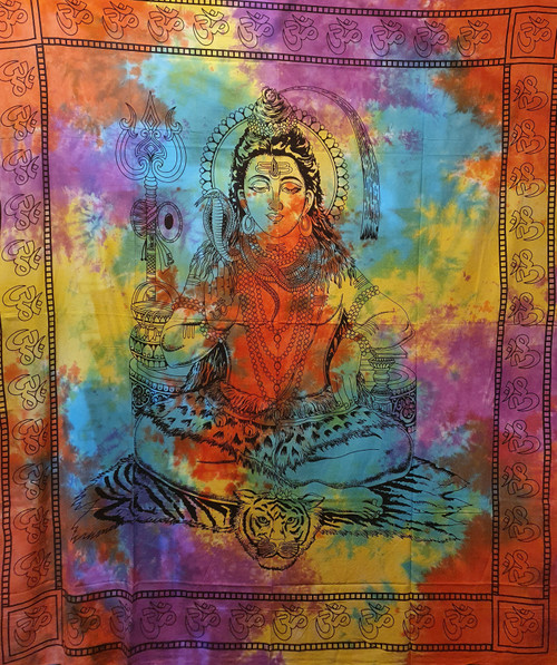 Tie-dyed Shiva Printed Cotton Wall Hanging/Bed Throw