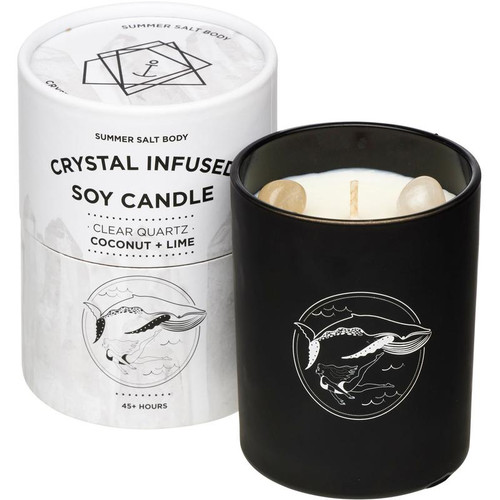 Crystal Infused Soy Candle - Clear Quartz, Coconut & Lime