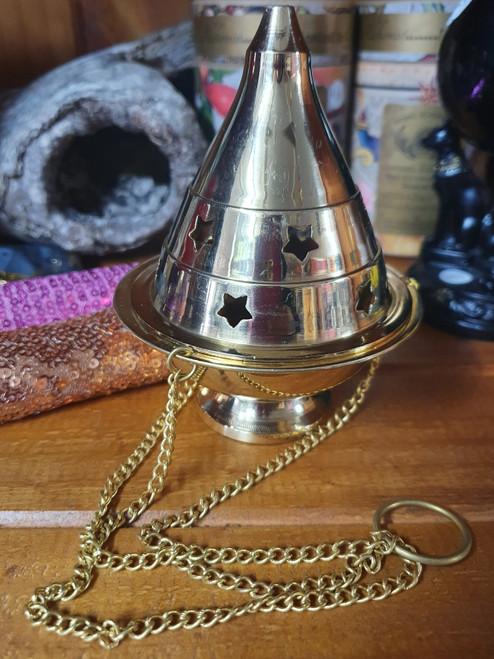 Brass Star Incense Charcoal Burner Hanging Censer  12cm