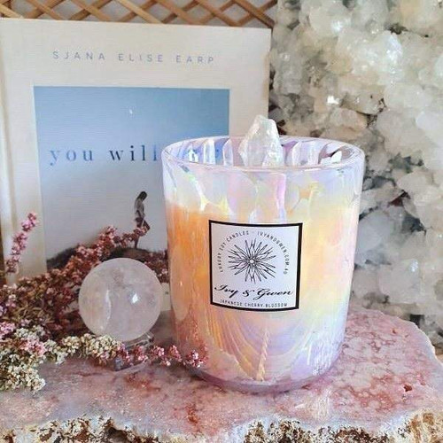Holographic Crystal Candle - Angel Aura - Japanese Cherry Blossom