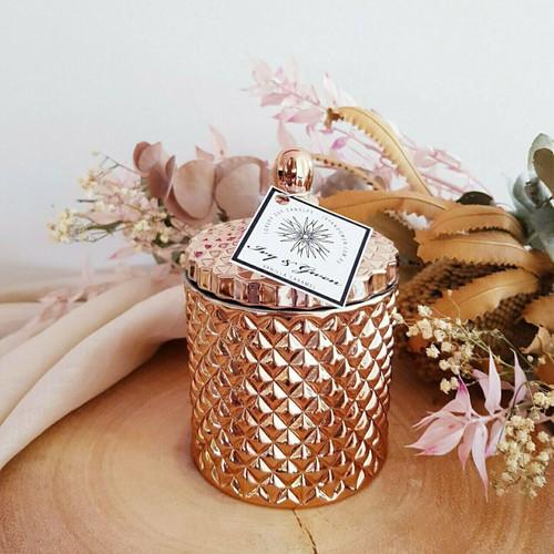 Luxe Crystal Jar - Rose Gold - Sweet Pea & Jasmine