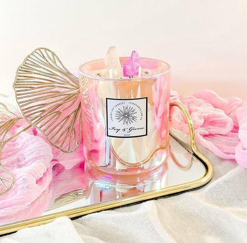 Holographic Crystal Candle - Aura Quartz Pink - Ginger & Black Orchid