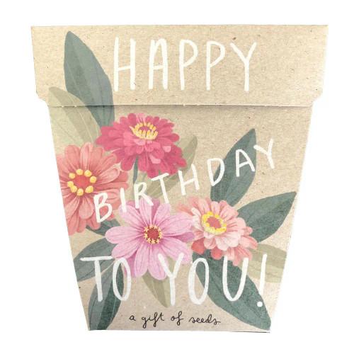 Happy Birthday Zinnia Gift of Seeds