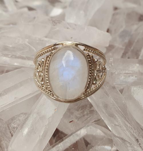 'Lunar' Rainbow Moonstone Sterling Silver Ring #10