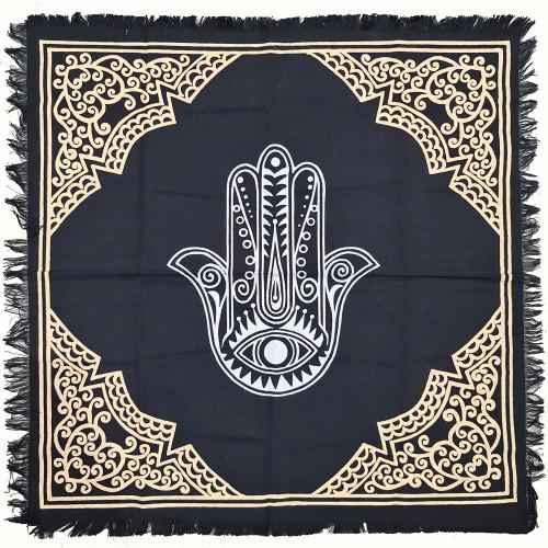 Hamsa Hand Print Cotton Altar Cloth