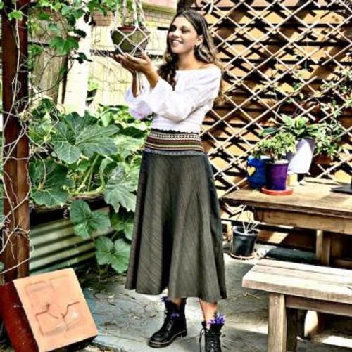 Hippie Cotton Skirt - Green