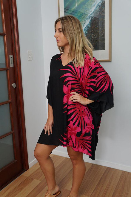 Pink Palm Frond Short Tunic