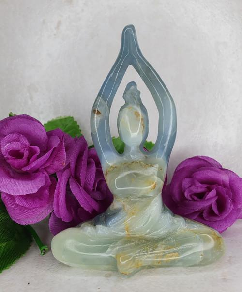 Blue Onyx Yoga Goddess Carving