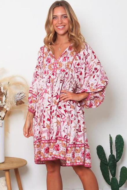 Luisa 3/4 Sleeves Mini Dress