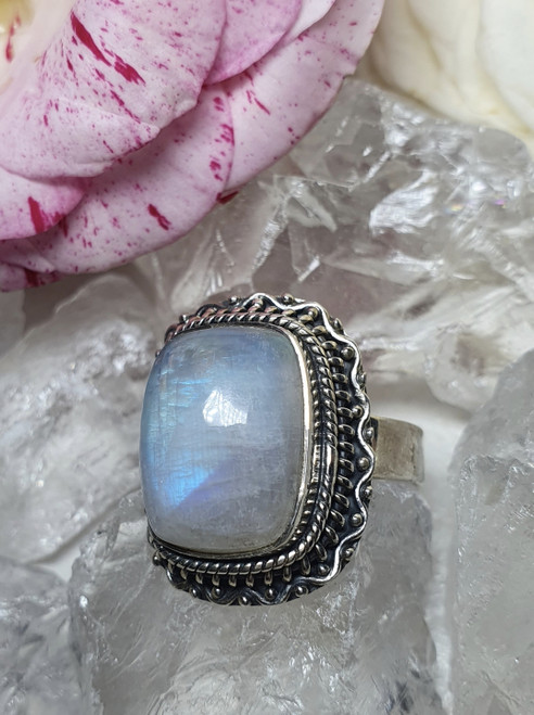 'Mia' Rainbow Moonstone Sterling Silver Ring Size 9