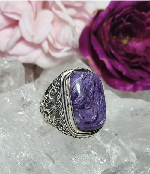 'Amelia' Charoite Sterling Silver Ring Size 7.25