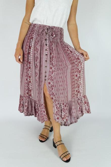 Maroon 'Watermark' Tiffany Skirt